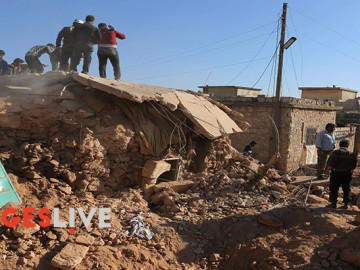 Two airstrikes by what is understood to be Russian warplanes have attacked a vast area of the village of Taqd, in the west countryside of Aleppo during the Friday prayer. The airstrikes have led to the killing of ten children, two women, one man and caused more than 15 injured