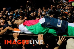 Palestinian journalist Yasser Murtaja died after being shot by Israeli forces during a protest in Gaza in April 2018. Photograph: Samar Abu Elouf/IMAGESLIVE