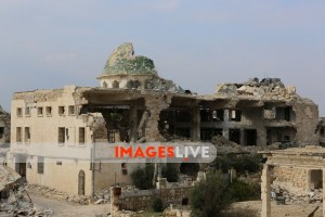 Destroyed buildings in Al-Rashideen, in the western Aleppo countryside, following bombardments in the area by the Syrian government forces and their Russian ally