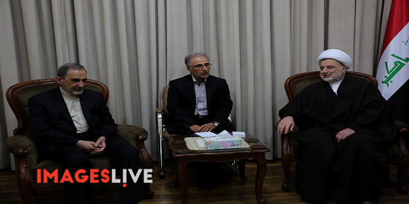 Ali Akbar Velayati, senior adviser to the Leader of the Islamic Revolution in Iran, meets with Sheikh Humam Hamoudi, member of the Council of Representatives in Iraq and leader of the Supreme Islamic Iraqi Council, at the Conference on Islamic unity in Baghdad. During the conference Velayati warned of the efforts by the US to create a new Middle East starting from dividing Syria and by preventing unity among Muslim countries. He added that the Resistance Front would eventually expel the US forces from the eastern part of the Euphrates